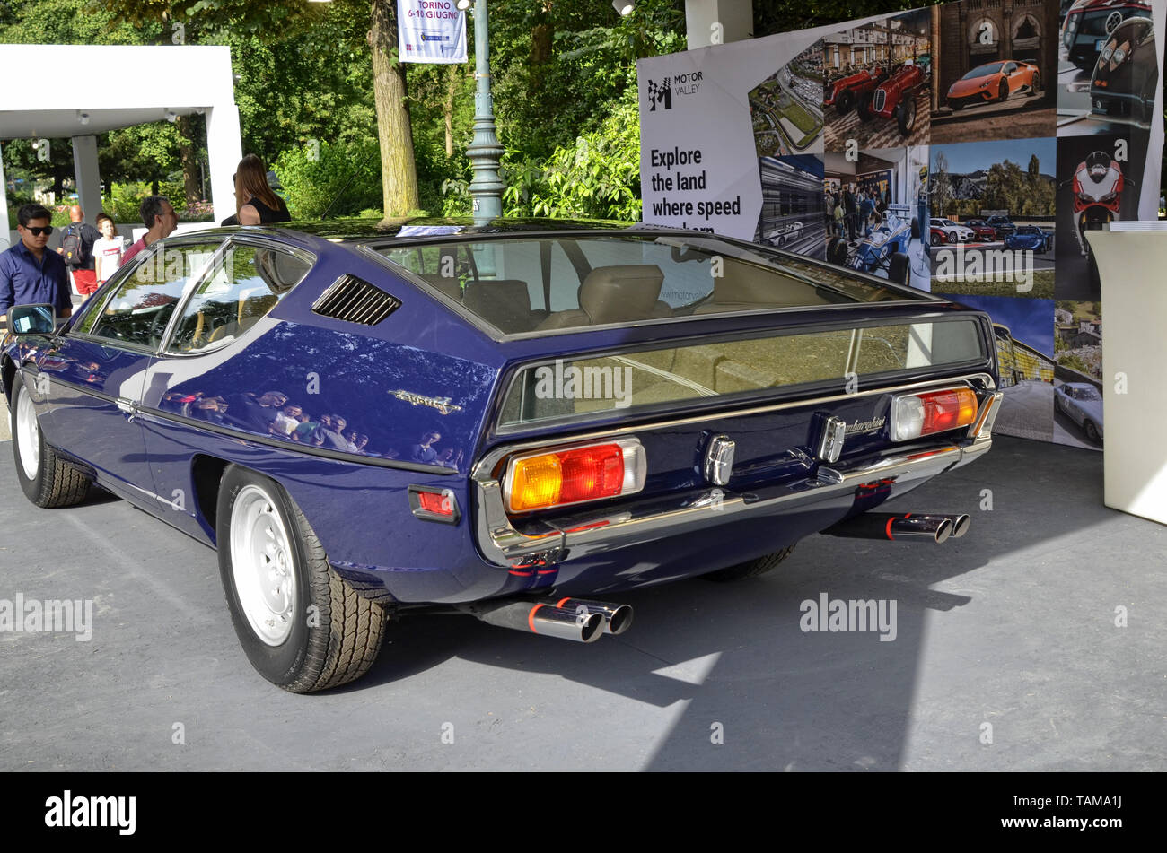 Turin, Piedmont, Italy. June 2018. At the Valentino park, the motor show. At the Lamborghini stand there are both modern and vintage models Stock Photo