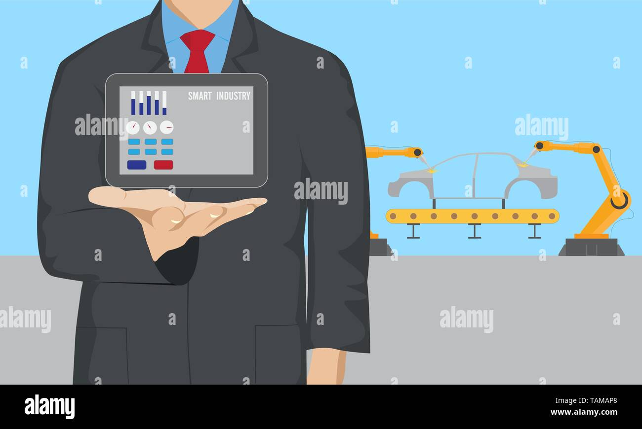 Businessman control digital tablet in car welding assembly line Stock Vector