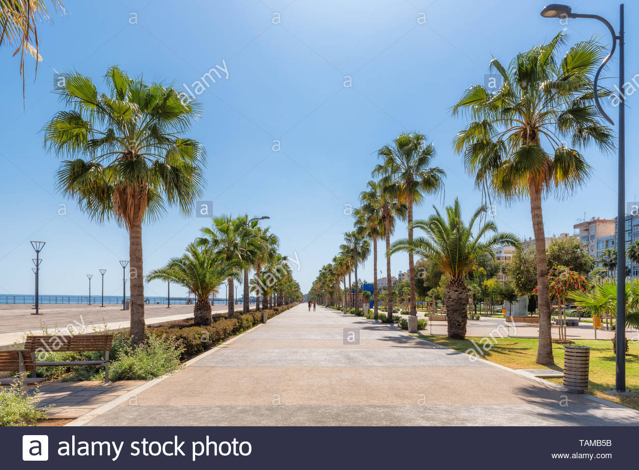 Promenade alley in Limassol, Cyprus - Stock Image