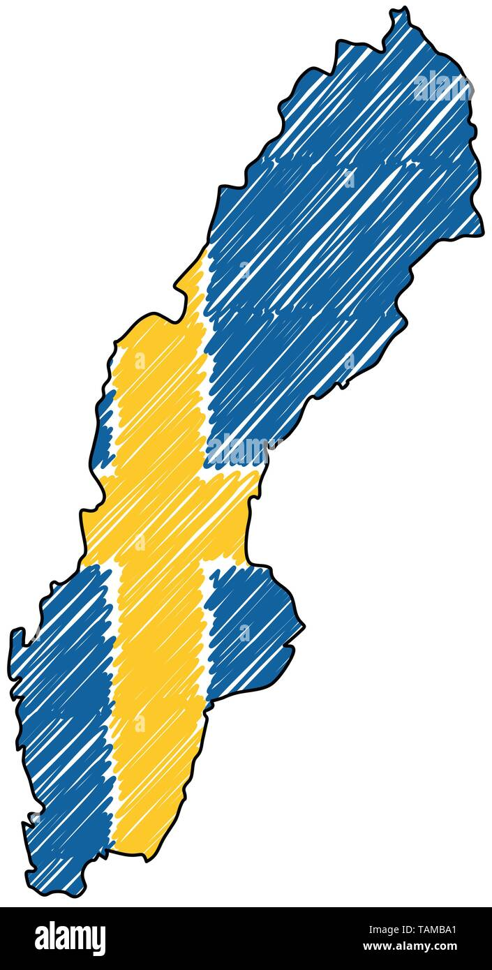 Sweden map hand drawn sketch. Vector concept illustration flag, childrens drawing, scribble map. Country map for infographic, brochures and - Stock Image