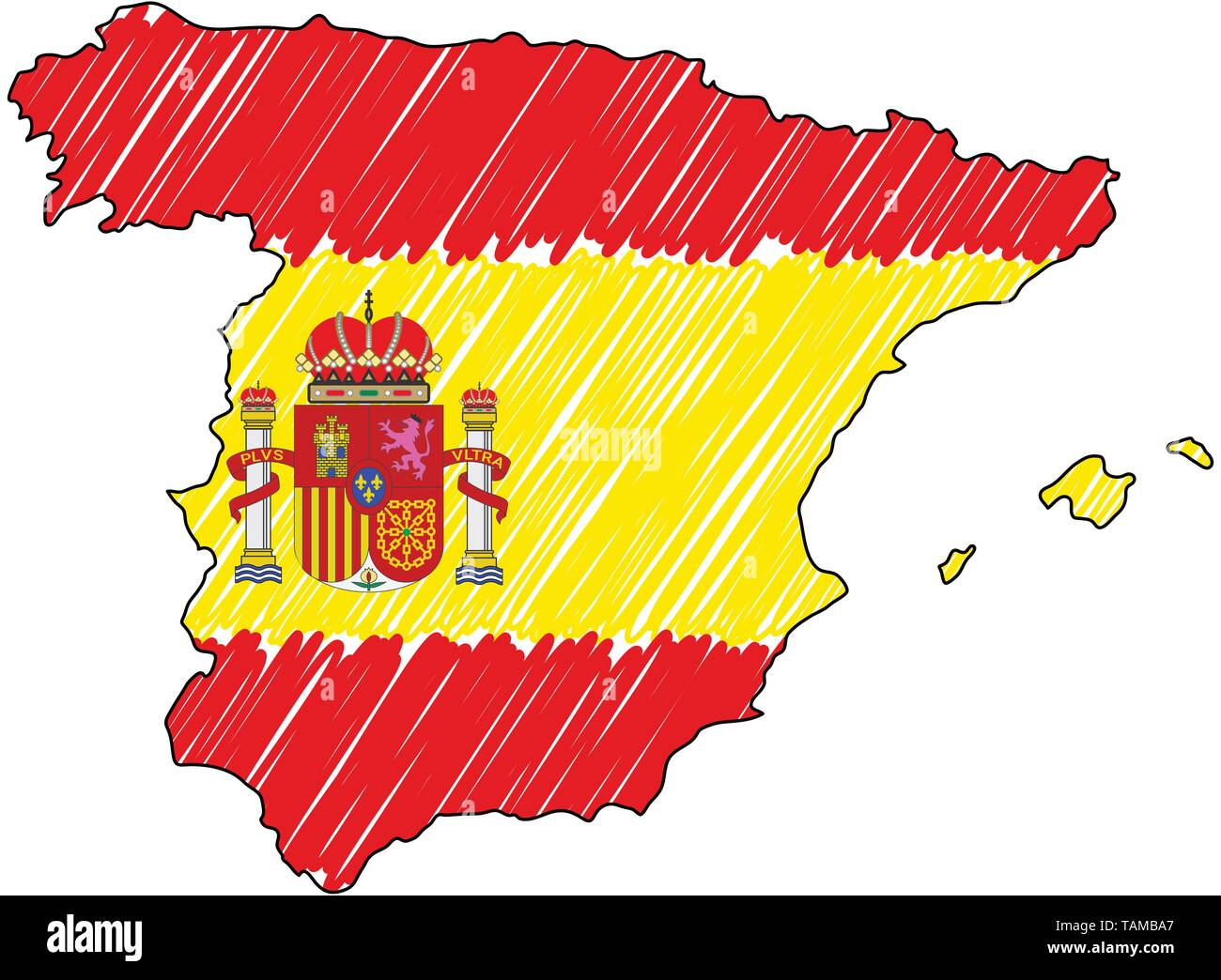 Map Of Spain Drawing.Spain Map Hand Drawn Sketch Vector Concept Illustration Flag