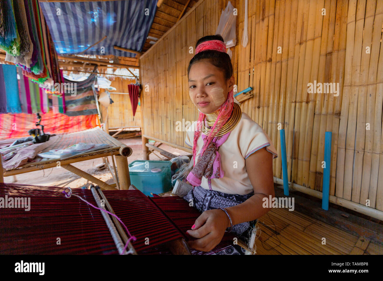 Bangkok, Tahiland - 2019-03-03 - Karen Long Neck Woman In Portrait - Stock Image