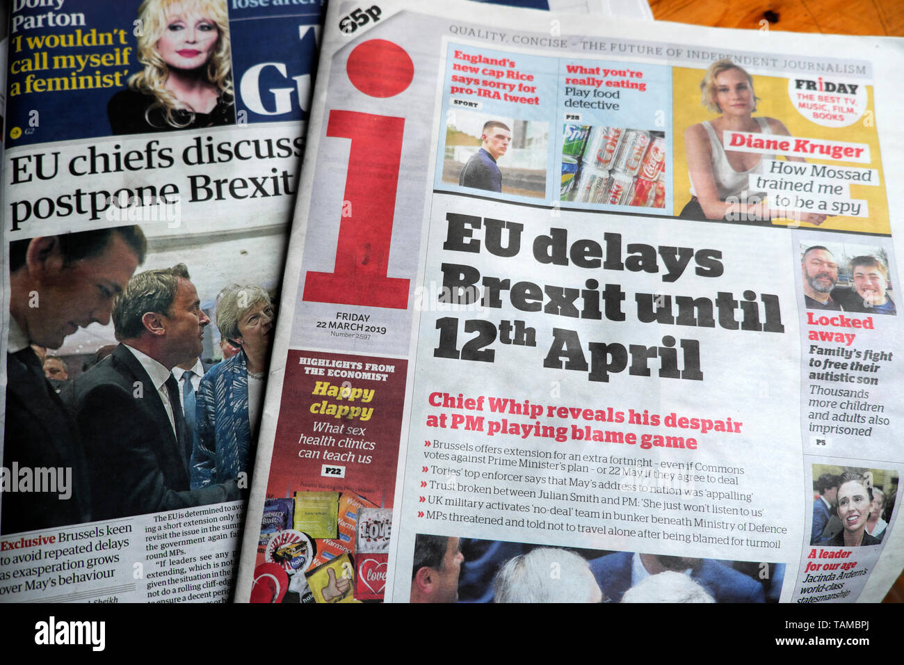 'EU delays Brexit until 12th April' newspaper headline regarding Brexit deadline delay in the i newspaper on 22 March 2019 London England UK Great Britain - Stock Image
