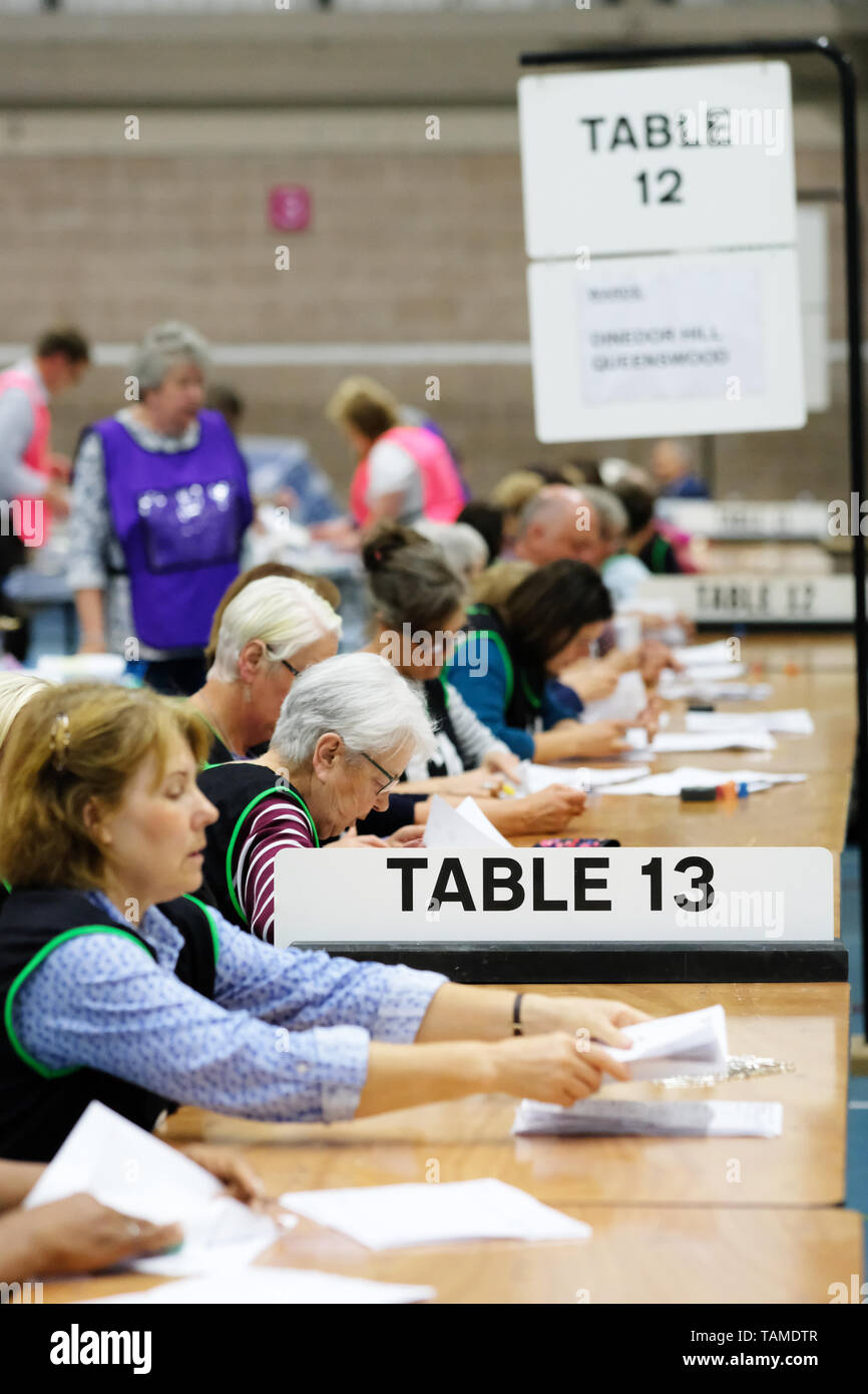 Hereford, UK. 26th May, 2019.  Election staff count ballot papers in Hereford as part of the UK wide European Elections - The Hereford votes are part of the West Midlands region and will return 7 MEPs - overall the UK will return 73 MEPs to the European Parliament. Photo Steven May / Alamy Live News - Stock Image