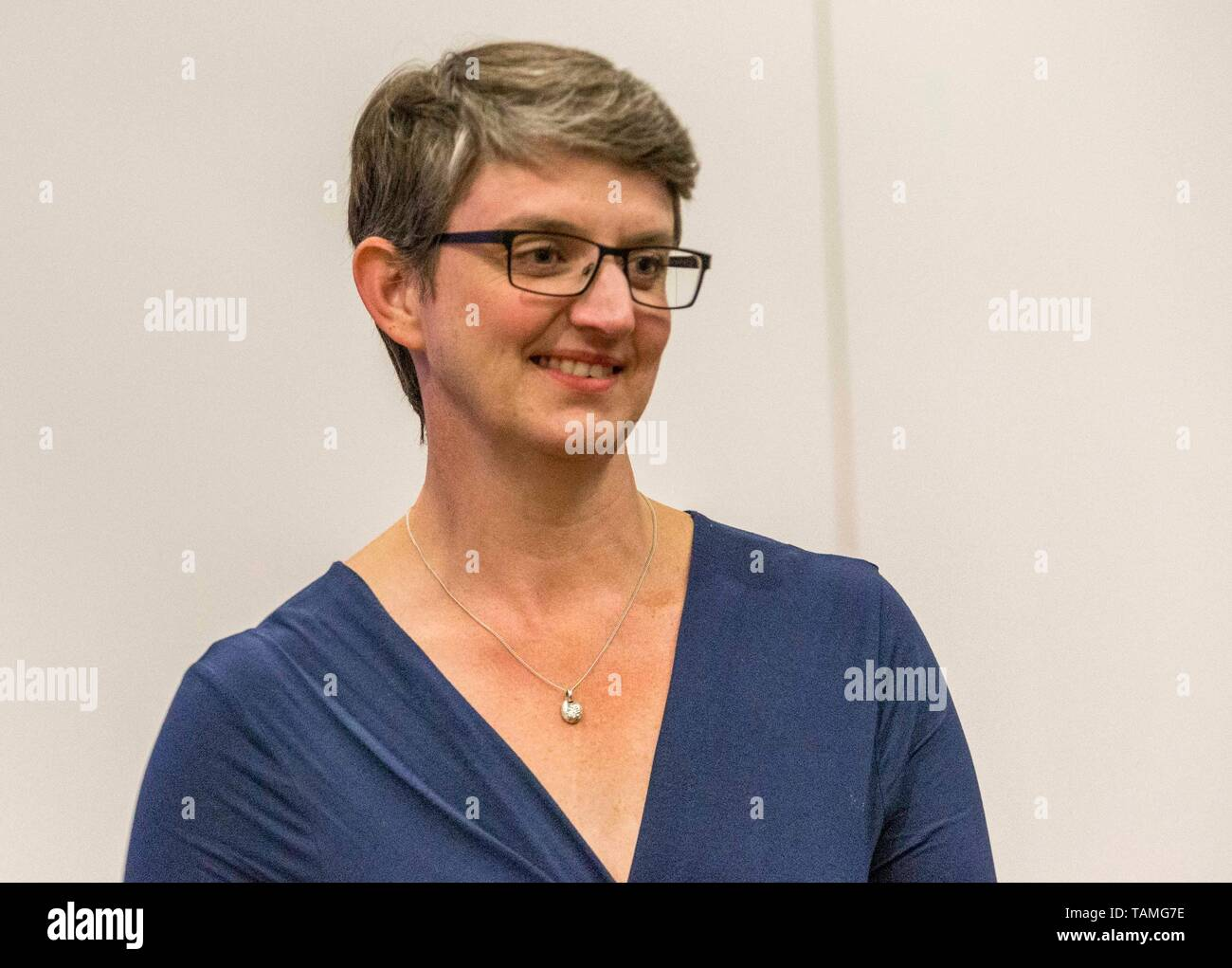 Edinburgh, UK. 26th May, 2019. The counting of votes in the European Parliamentary Election for the City of Edinburgh counting area takes place at EICC, Morrison Street, Edinburgh.   Pictured: Maggie Chapman, Co-convener of the Scottish Green Party and the lead candidate for the party in the election Credit: Rich Dyson/Alamy Live News - Stock Image