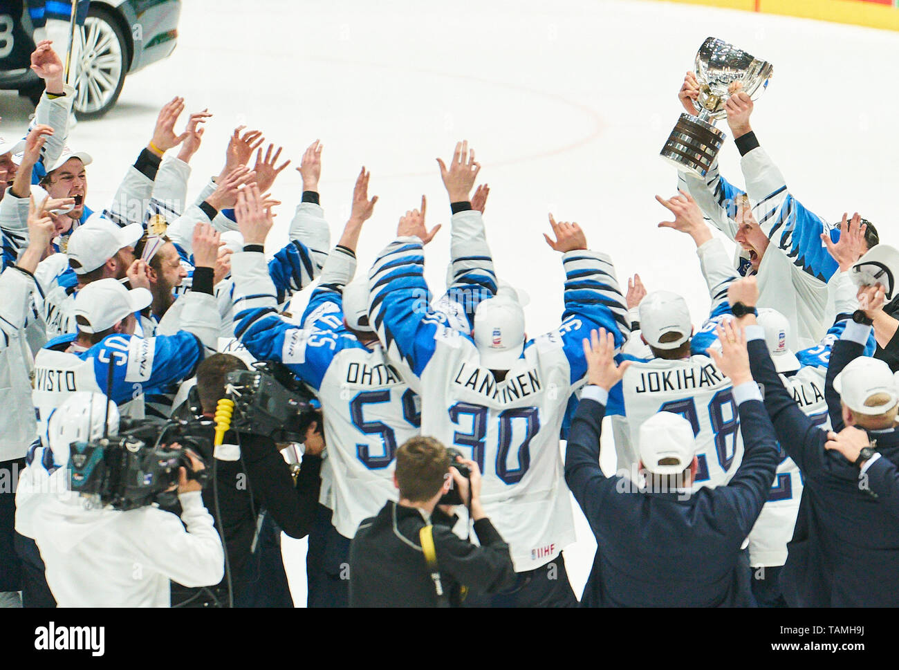 Bratislava, Slovakia. 26th May, 2019. Marko ANTTILA, FIN 12, Finland won the title and celebrate, Cheering, joy, emotions, celebrating, laughing, cheering, rejoice, tearing up the arms, clenching the fist, celebrate, celebration, Torjubel, CANADA - FINLAND 1-3 Kanada - Finnland FINAL IIHF ICE HOCKEY WORLD CHAMPIONSHIPS in Bratislava, Slovakia, Slowakei, May 26, 2019, Season 2018/2019, Credit: Peter Schatz/Alamy Live News - Stock Image