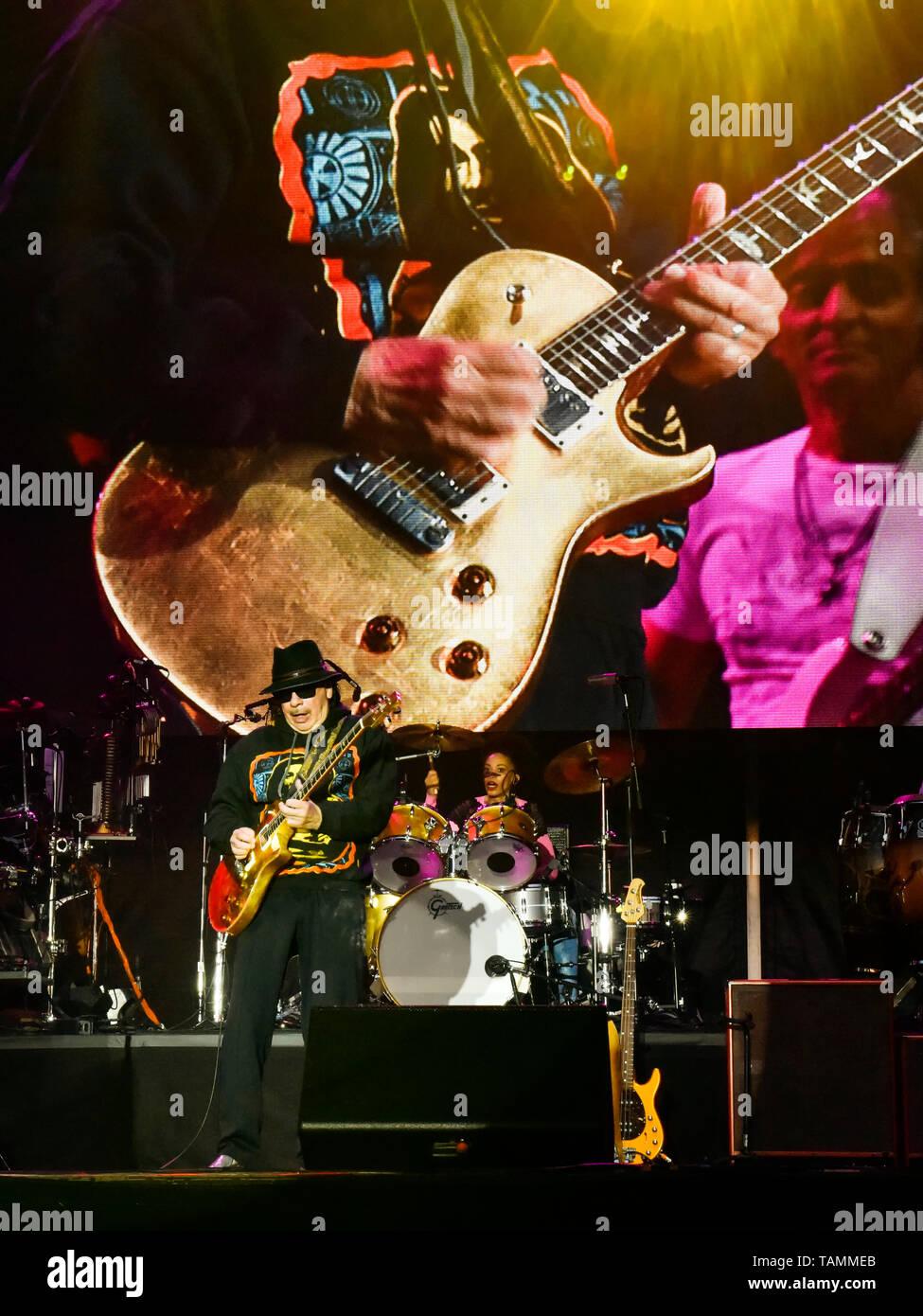 Napa, USA. 26th May, 2019. Napa, California, May 26, 2019, Carlos Santana on stage at the 2019 Bottle Rock Festival, Day3 BottleRock Credit: Ken Howard/Alamy Live News Stock Photo