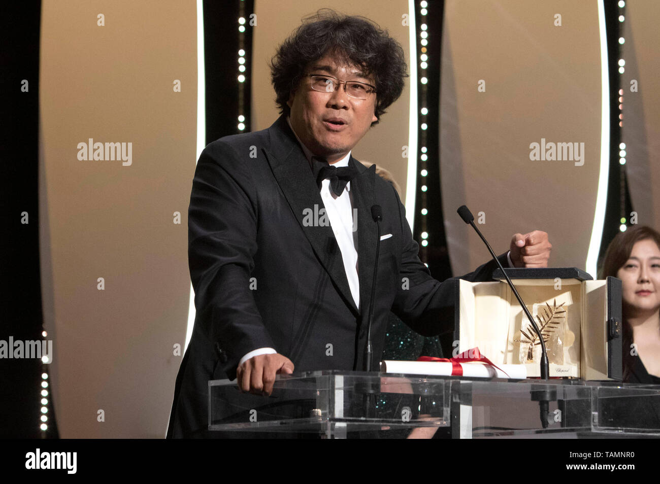 Bong Joon-ho with his Palme d'Or (Golden Palm) for the movie