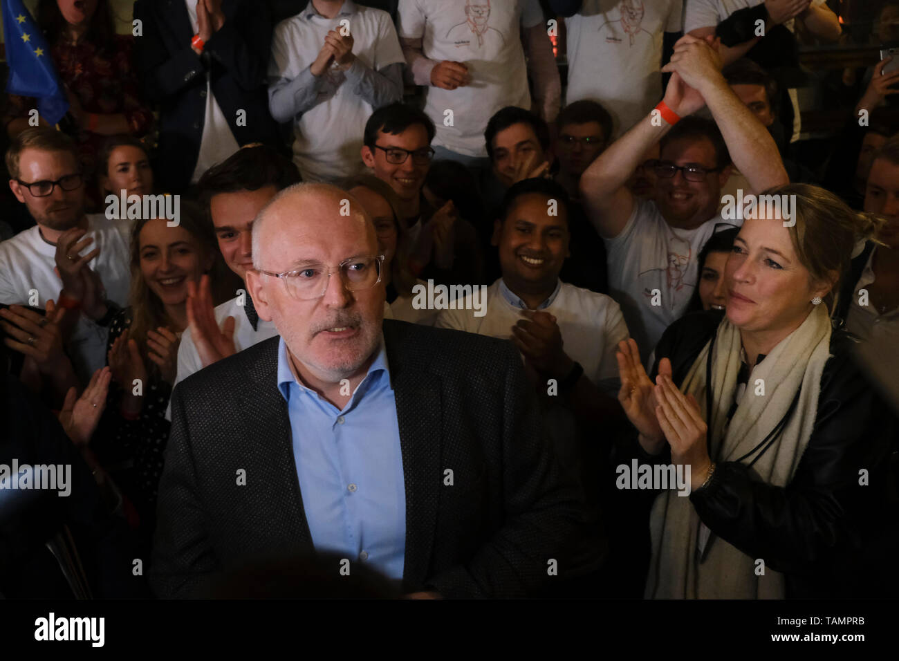 Brussels, Belgium. 26th May, 2019. Frans Timmermans, lead candidate of the Party of European Socialists (PES), speaks at the PES European elections headquarters. Credit: ALEXANDROS MICHAILIDIS/Alamy Live News - Stock Image