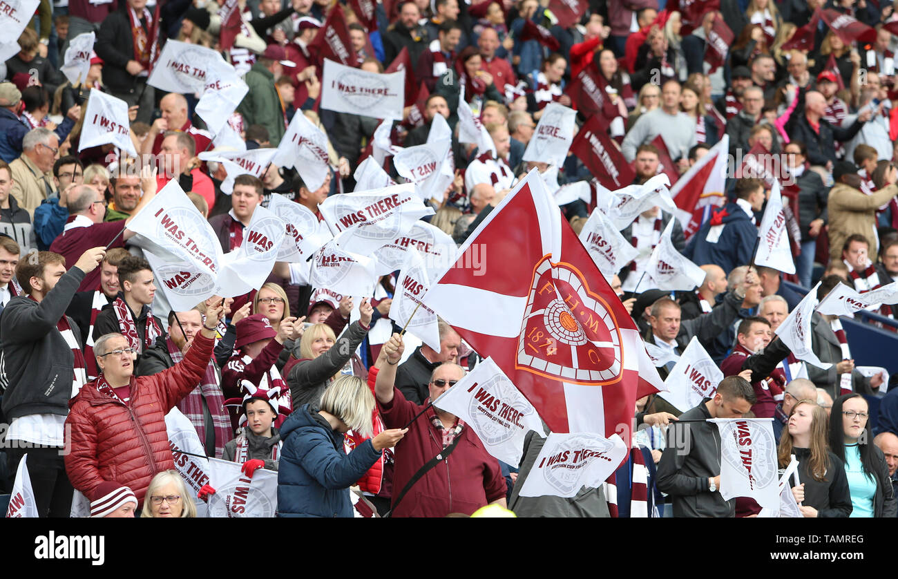 25th May 2019, Hampden Park, Glasgow, Scotland; Scottish Football Cup Final, Heart of Midlothian versus Celtic; Hearts fans support their team with flags Stock Photo