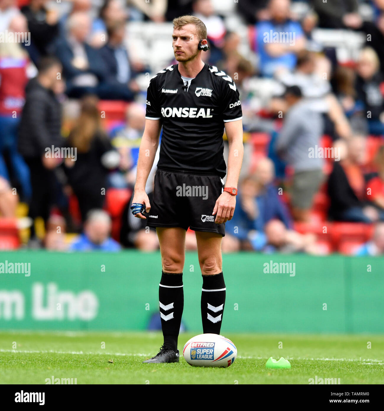 Anfield, Liverpool, UK. 25th May, 2019. Rugby League Dacia Magic Weekend; Scott Mikalauskas, match official for the game between Wakefield Trinity and Catalans Dragons Credit: Action Plus Sports/Alamy Live News - Stock Image