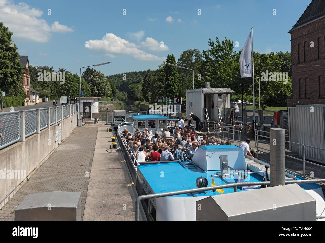 tourist ship in a sluice in limburg an der lahn hesse germany - Stock Image