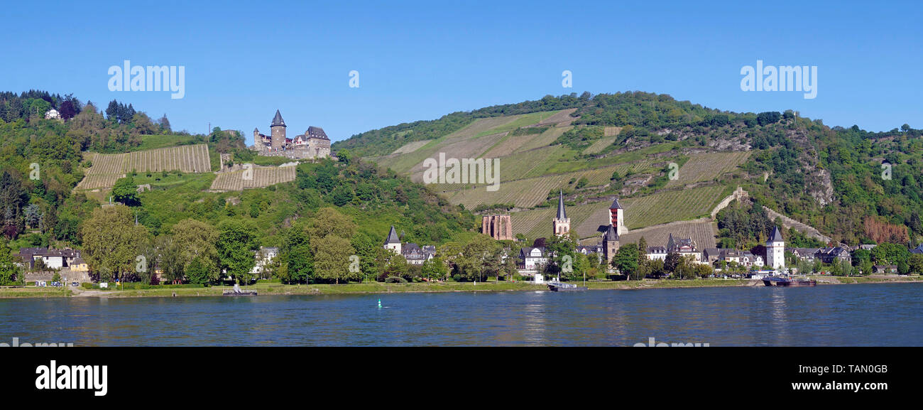 Bacharach and the Stahleck castle, Unesco world heritage site, Upper Middle Rhine Valley, Rhineland-Palatinate, Germany Stock Photo