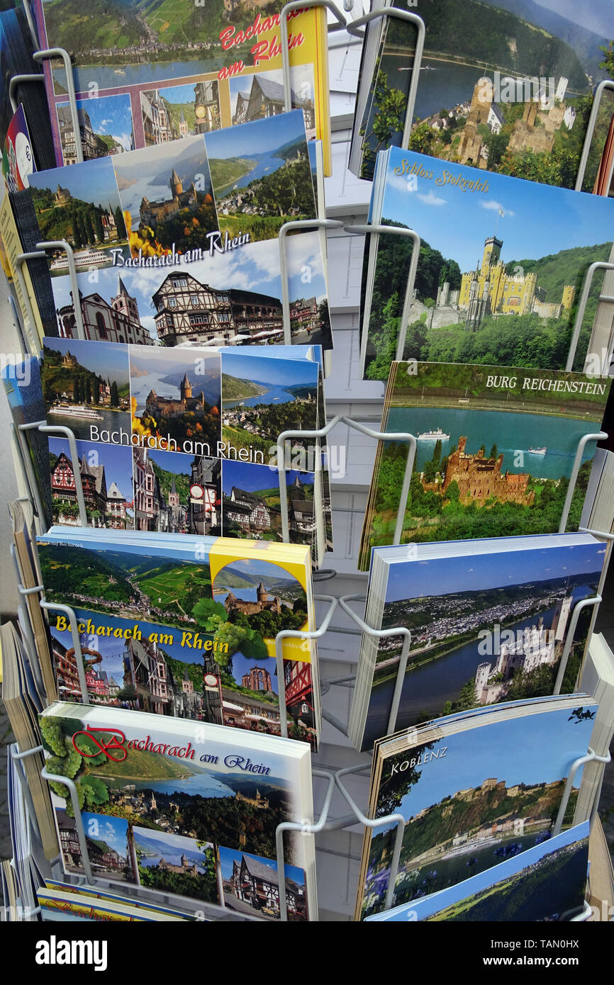 Picture postcard rack in front of a souvenir shop, Bacharach, Unesco world heritage site, Upper Middle Rhine Valley, Rhineland-Palatinate, Germany Stock Photo