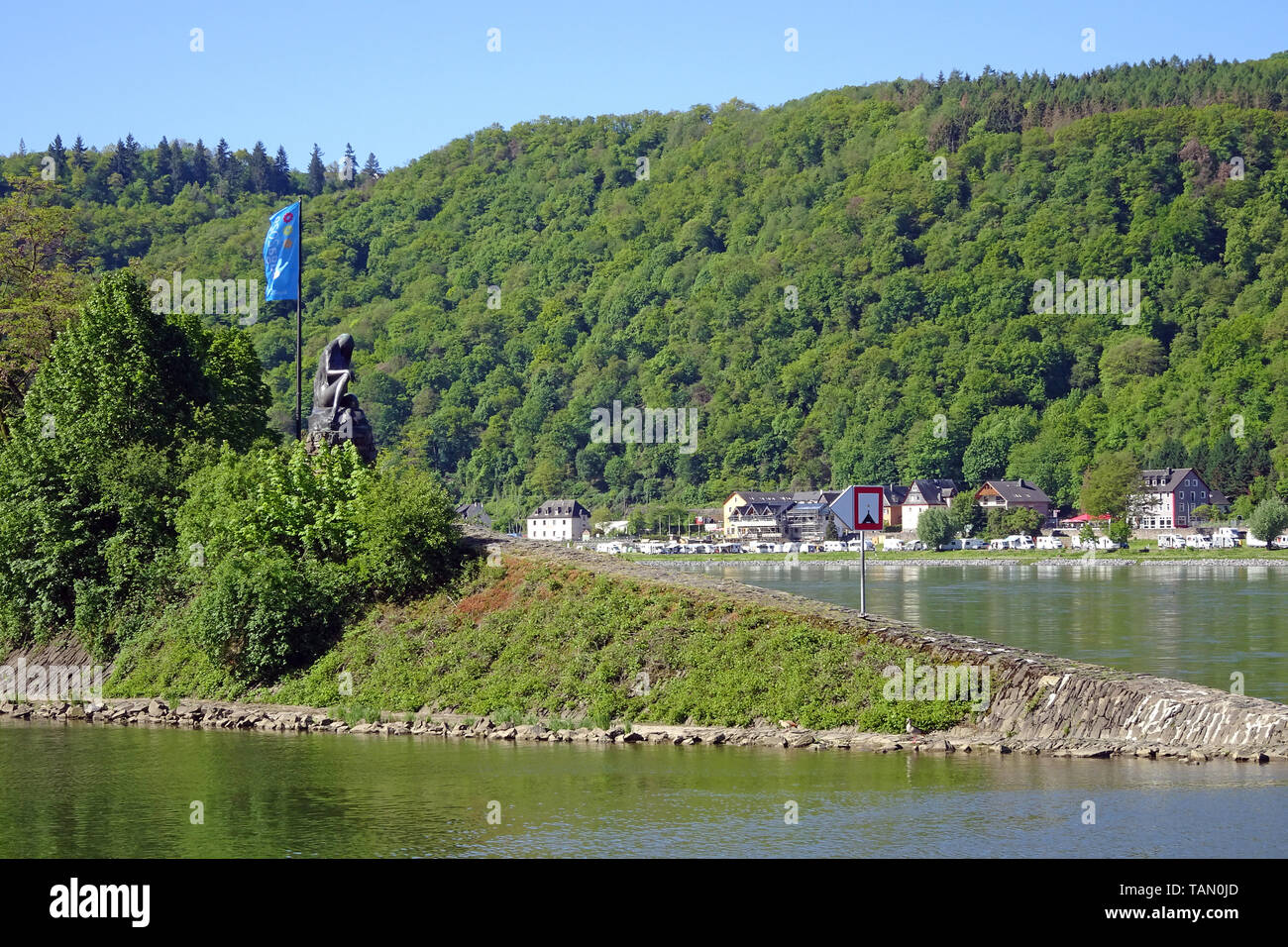 Lorelei statue at St. Goarshausen, Unesco world heritage site, Upper Middle Rhine Valley, Rhineland-Palatinate, Germany Stock Photo
