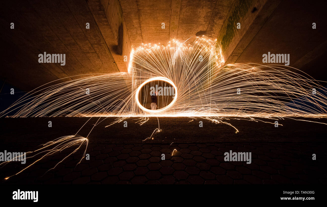 Steel wool photography, spectacular and cool photography with burning steel wool Stock Photo