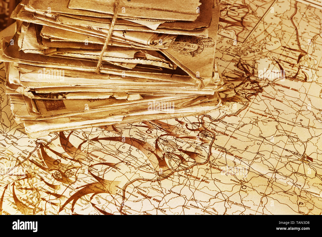 Heap of the postal letters on the Soviet military map of the World War 2, 1944. Map published in 1948 - Stock Image
