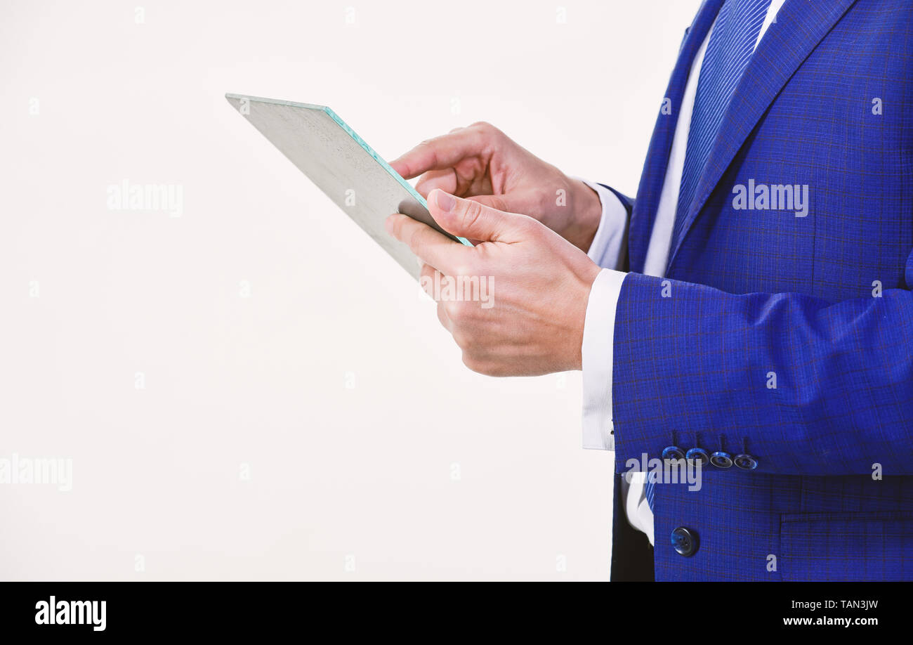 Tablet portable computer in hands of manager. Smart system control. Digital technology. Wireless technology. Get access network. Future technology virtual surface. Business and technologies concept. - Stock Image