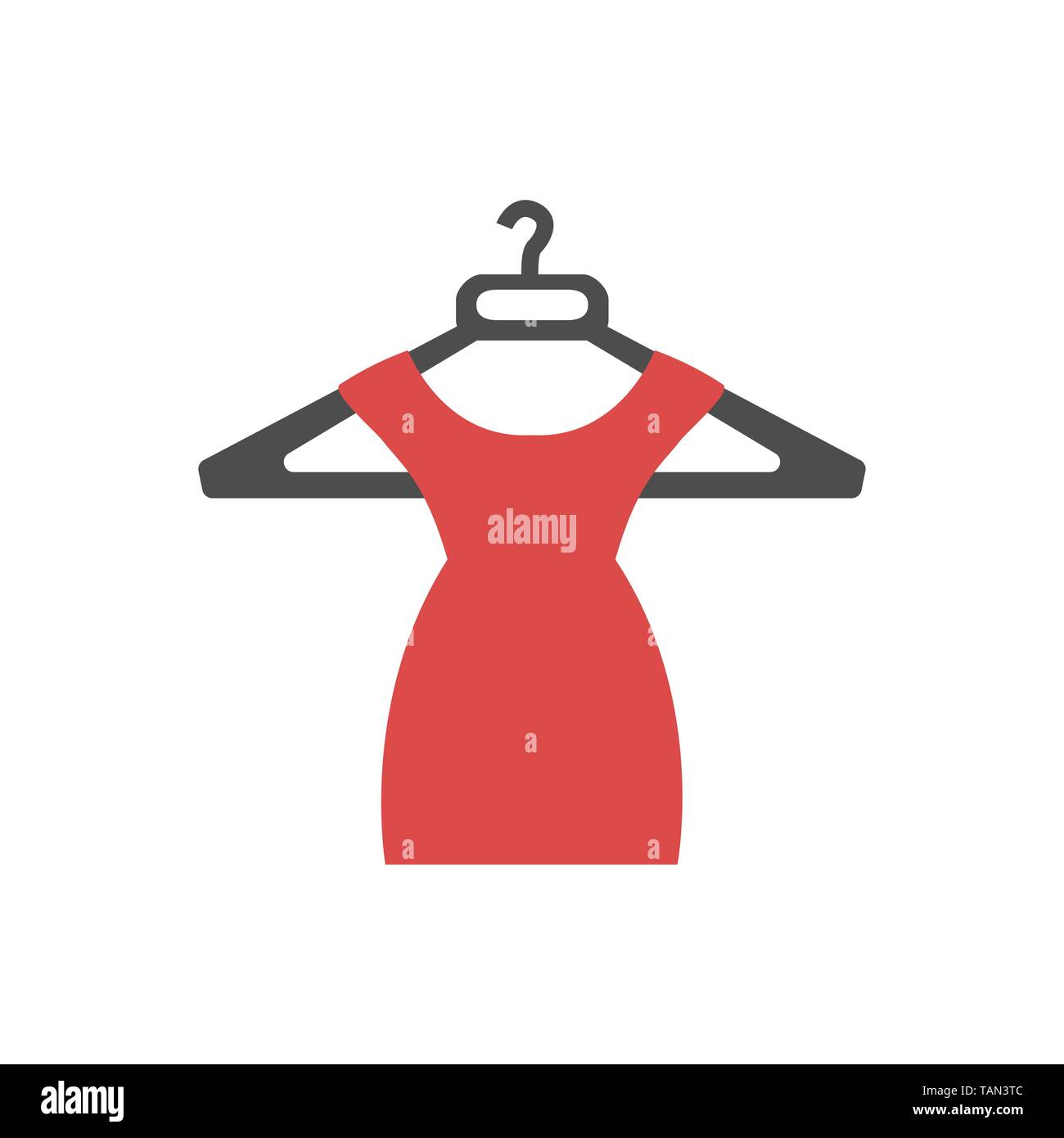 Beautiful short red dress icon. Vector illustration - Stock Vector