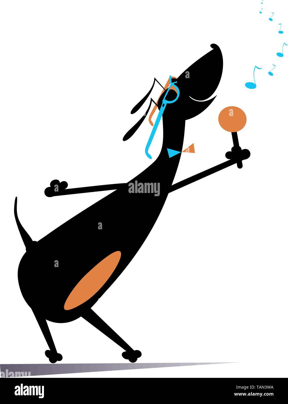 Romantic singer dog isolated illustration. Dachshund with a microphone sings a song with inspiration illustration - Stock Vector
