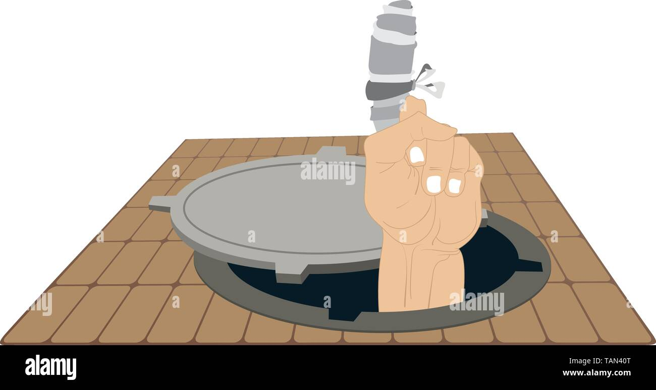 Sewer manhole and hand with injured finger with bandage illustration. Hand with injured bandage finger appears out from the sewer manhole - Stock Vector
