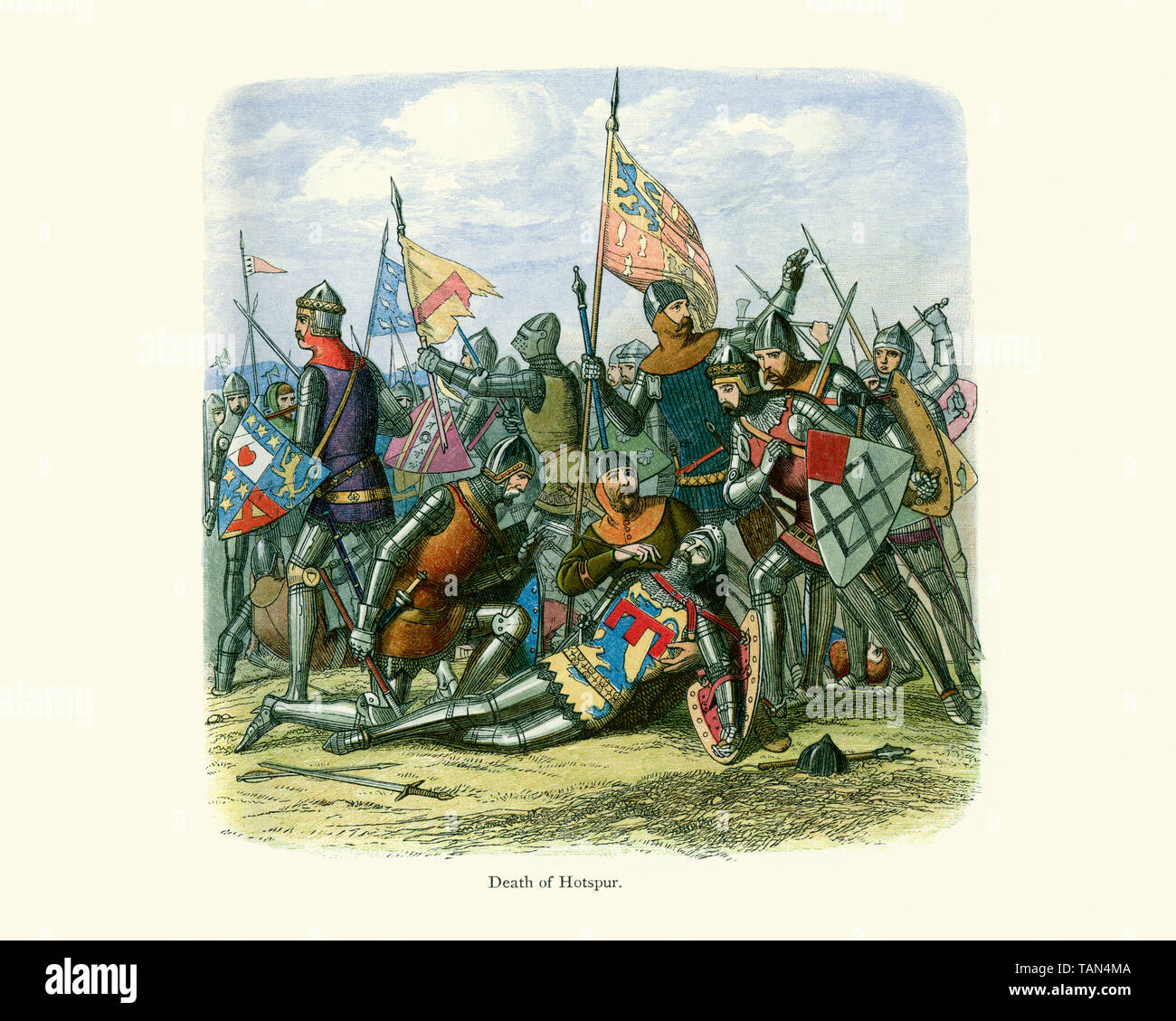 Death of Henry Hotspur Percy the eldest son of Henry Percy, 1st Earl of Northumberland. Hotspur led a rebellion against Henry IV in 1403, forming an a Stock Photo