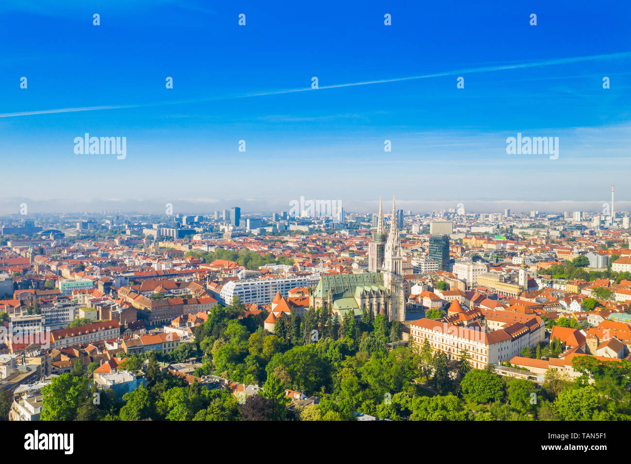 Zagreb Capital Of Croatia City Center Aerial View From Drone Cathedral Ribnjak Park And Upper Town Stock Photo Alamy