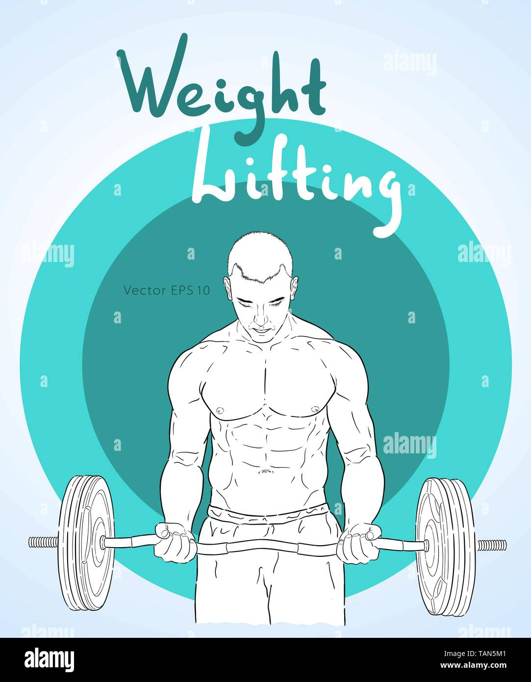 Weight Lifter man lifting heavy weight for Sports. - Stock Vector