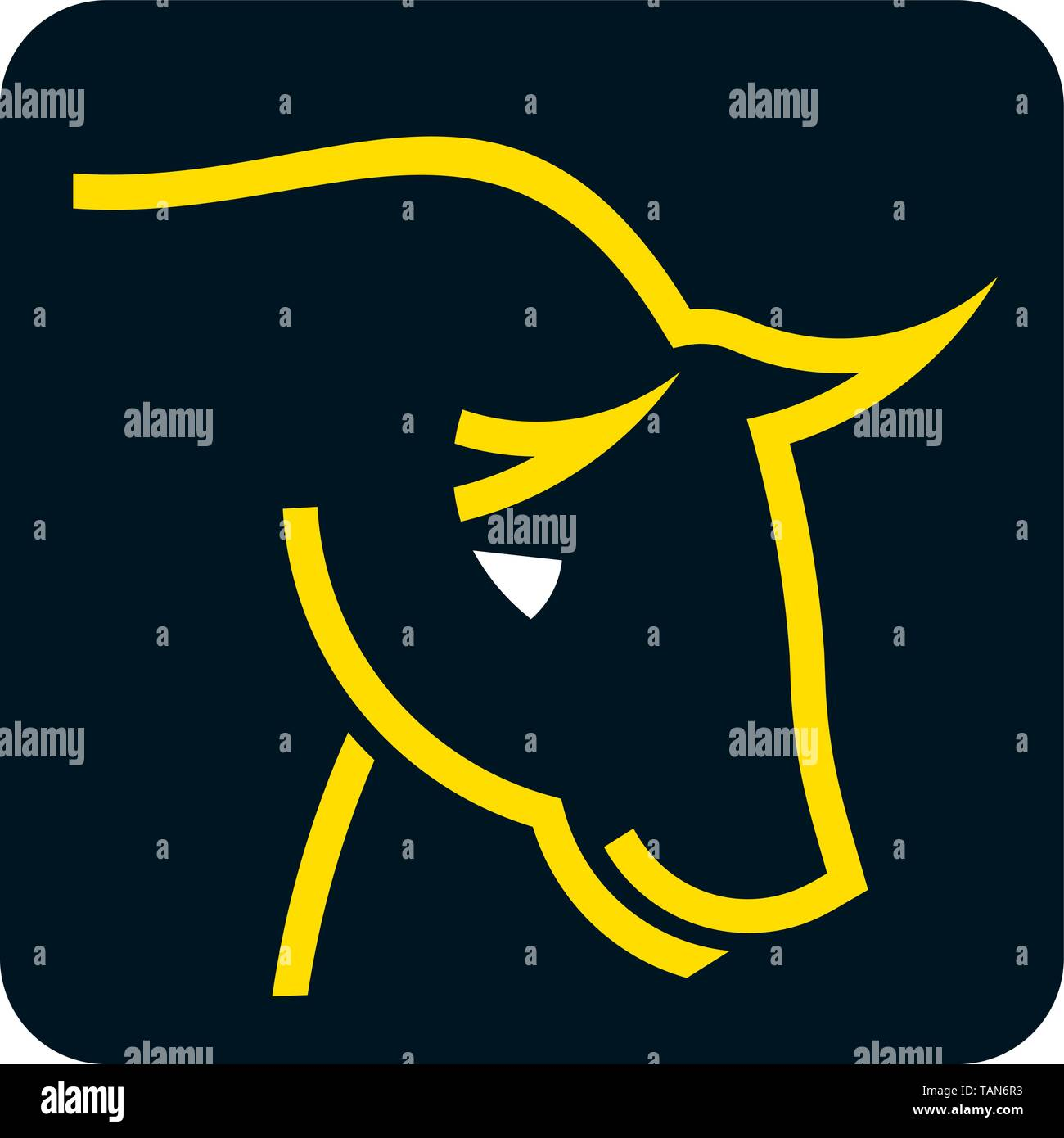 Vector illsutration of brave bull head icon in yellow and black. - Stock Vector