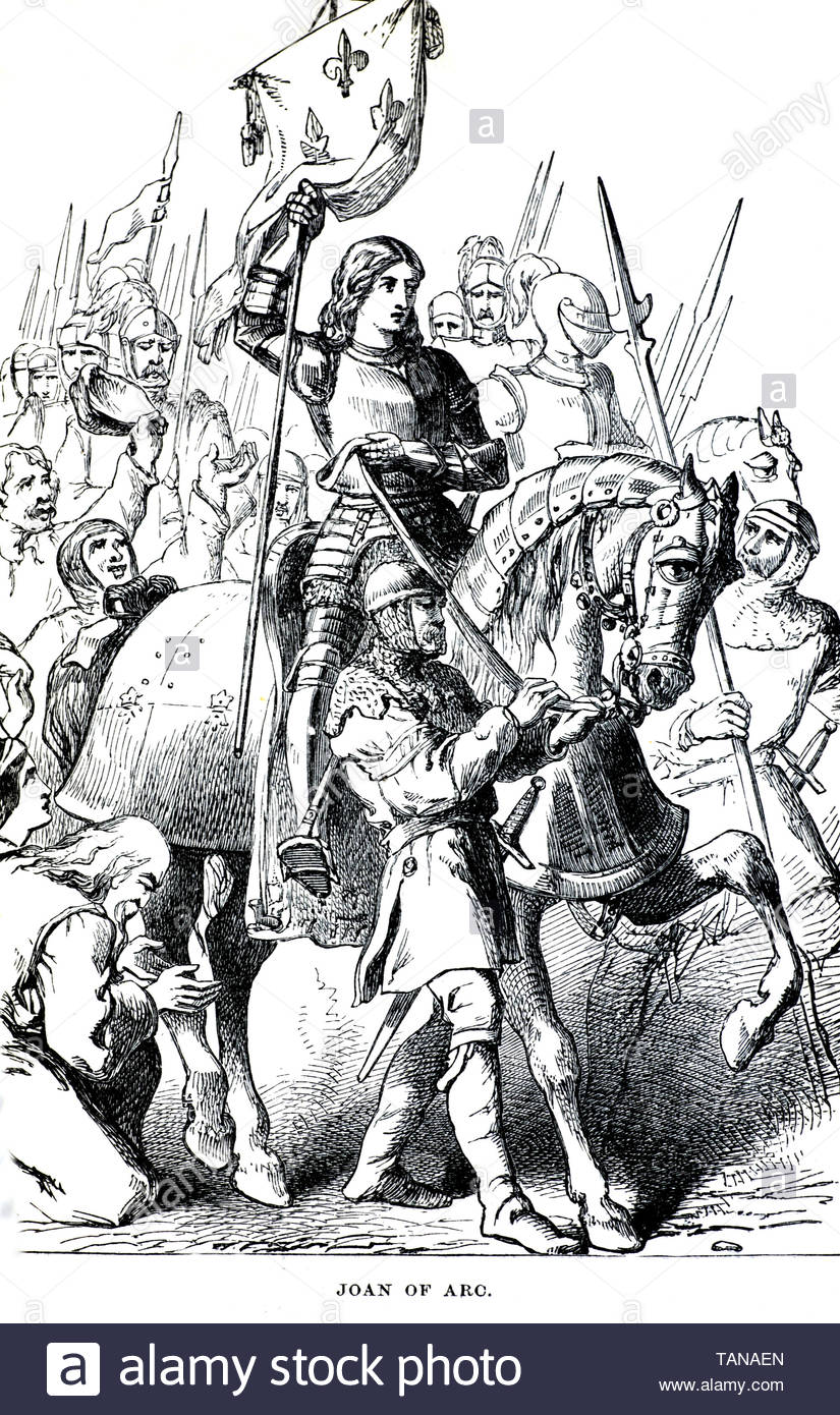 Joan of Arc, 1412 – 1431, 'The Maid of Orléans', is a heroine in France for her role during the the Hundred Years' War - Stock Image