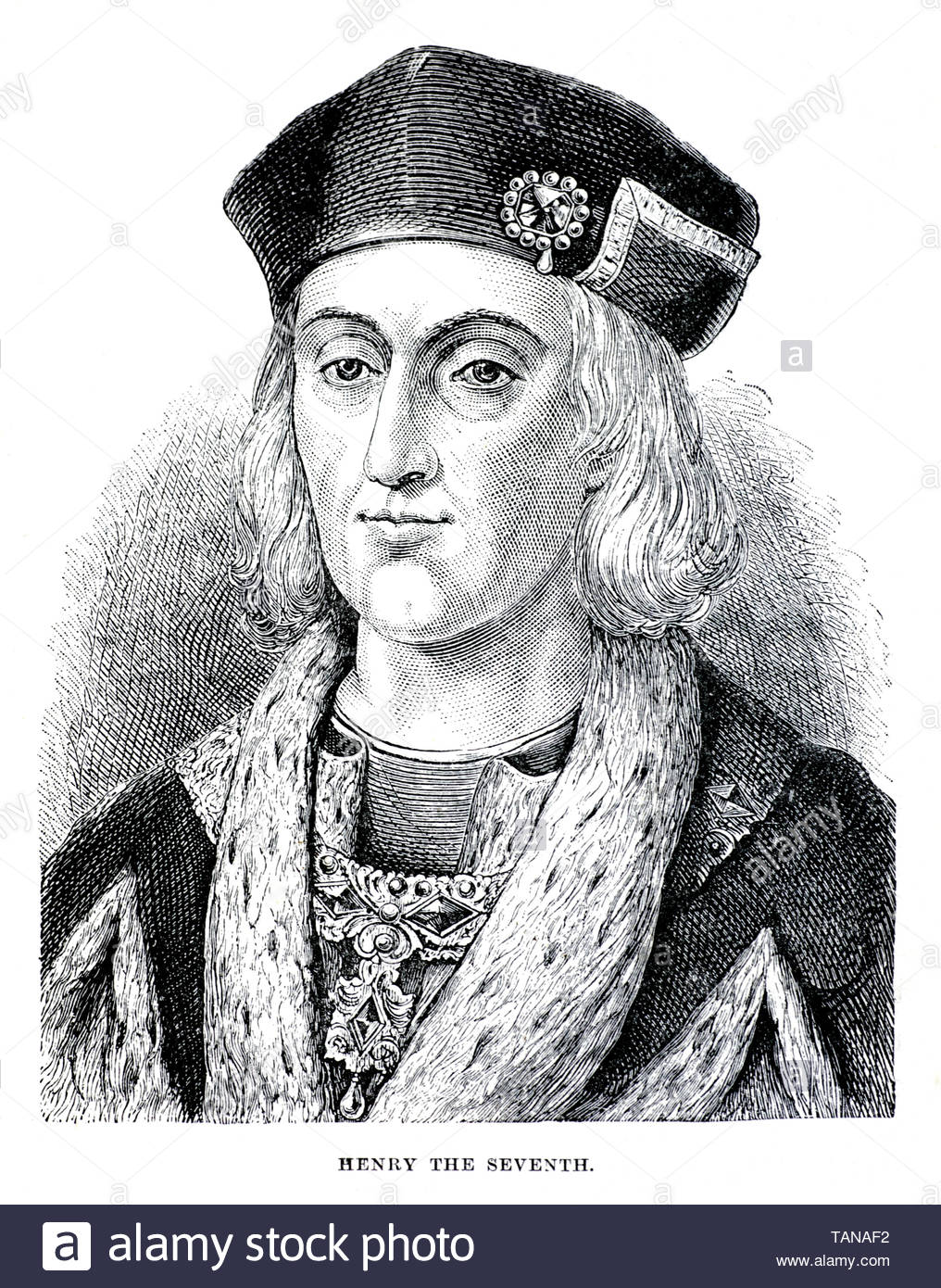 Henry VII, 1457 – 1509, was the King of England and Lord of Ireland from 1485 to his death on 21st April 1509 - Stock Image