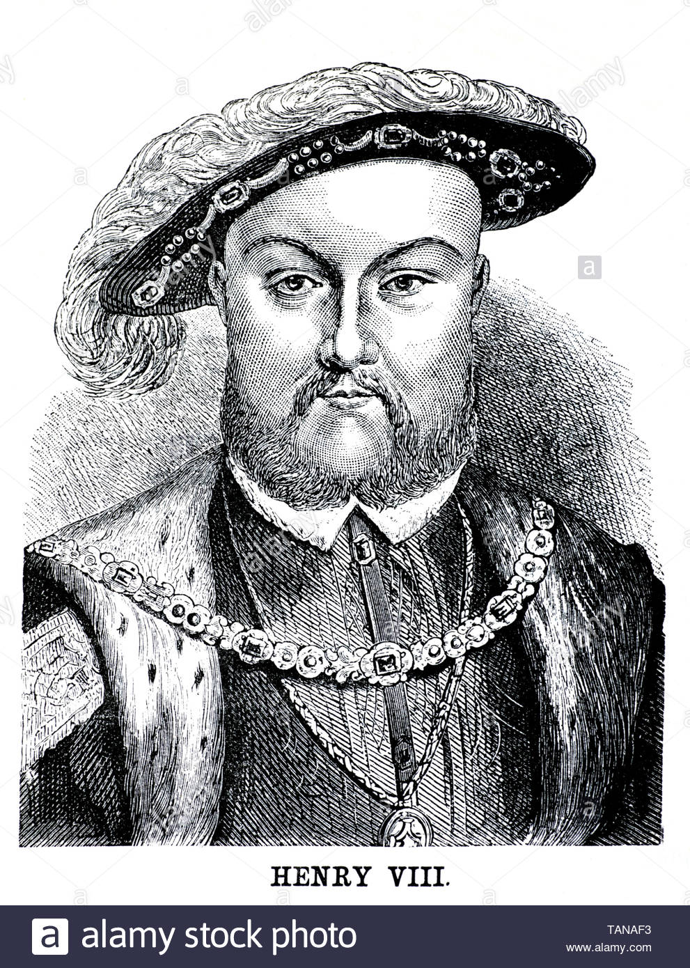 Henry VIII, 1491 –  1547, was King of England from 1509 until his death in 1547 - Stock Image