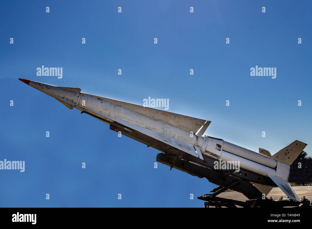 War missile weapon isolated blue sky background - Stock Image