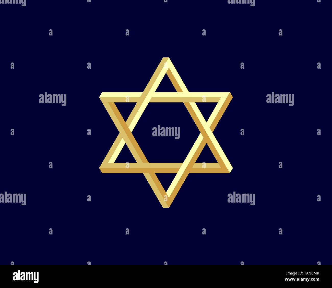 Jewish Star of David icon. Vector six pointed stars symbol. - Stock Vector