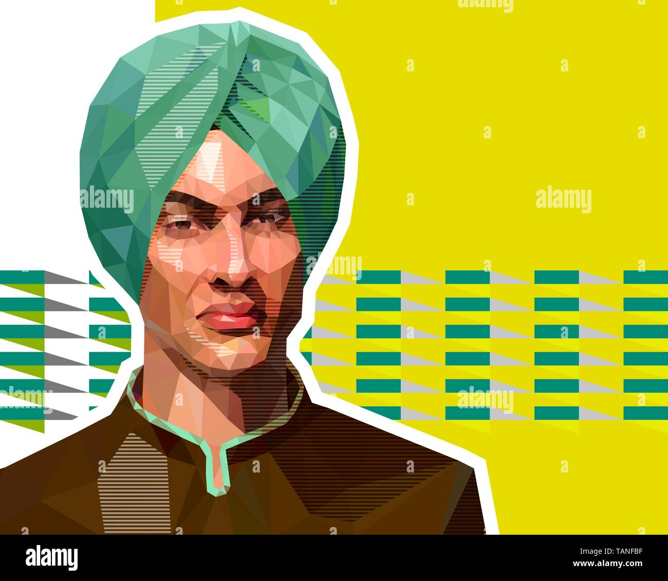 The illustration in the low polygon style - a portrait of a young Muslim in a orange turban. The man has an arrogant, gorgeous expression. Template fo - Stock Vector