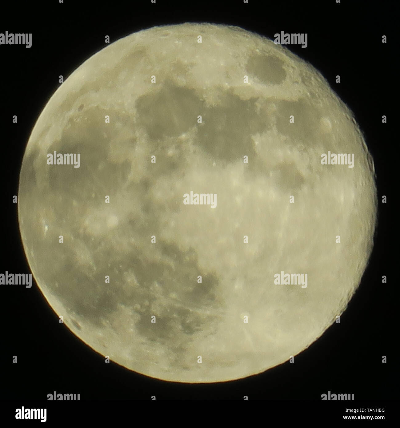 clear sky and fullmoon at night - Stock Image