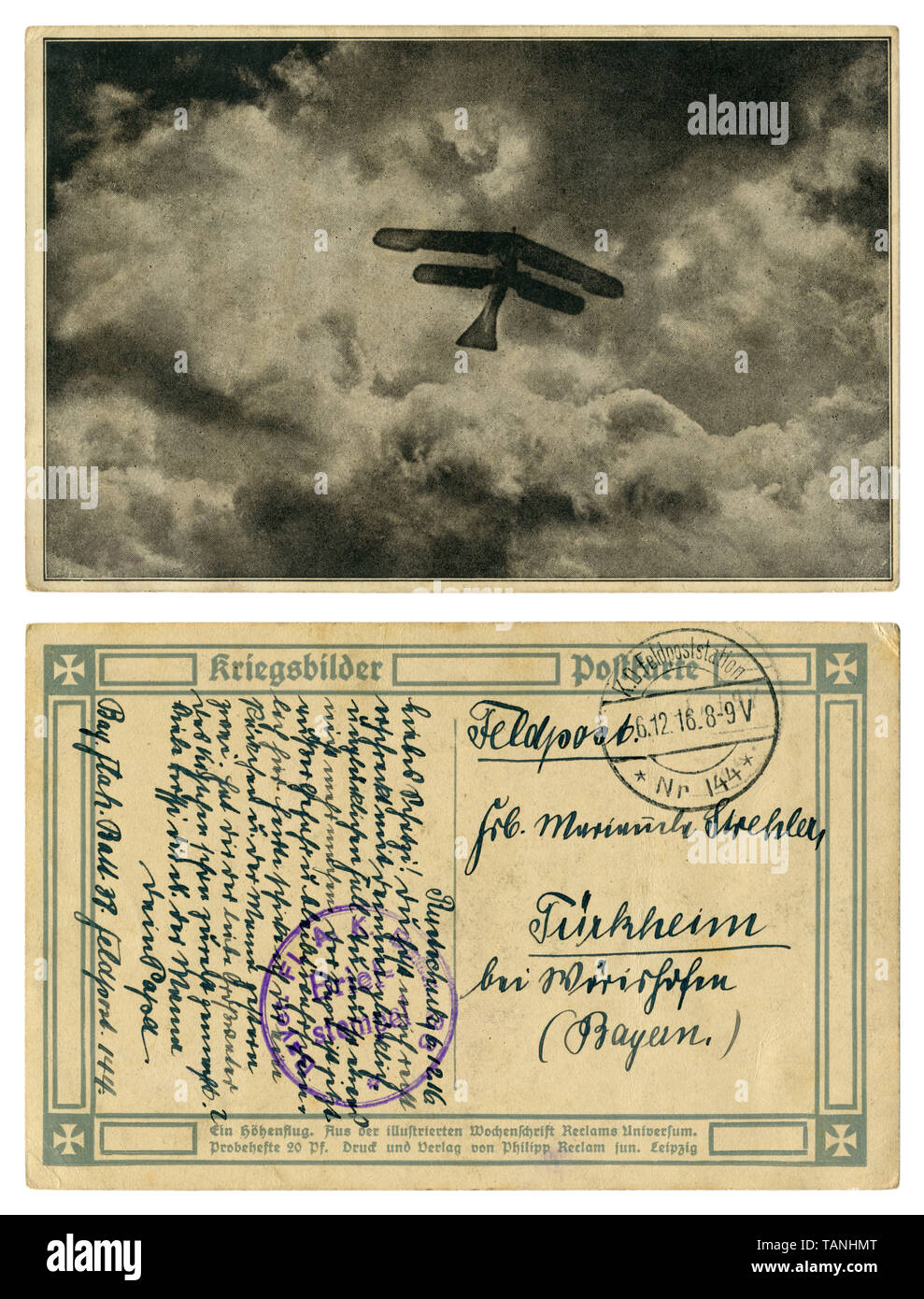 """German historical postcard: """"A high-altitude flight"""" Silhouette of a biplane against a background of clouds.  Back side, Flak postmark, wwi Stock Photo"""