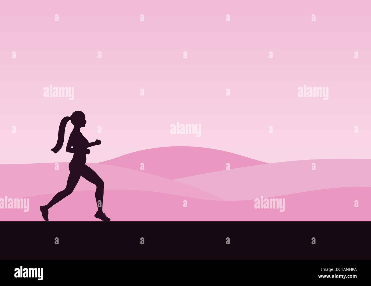 Pink sport design. The silhouette of the running woman in the nature. Hills in the background. - Stock Vector