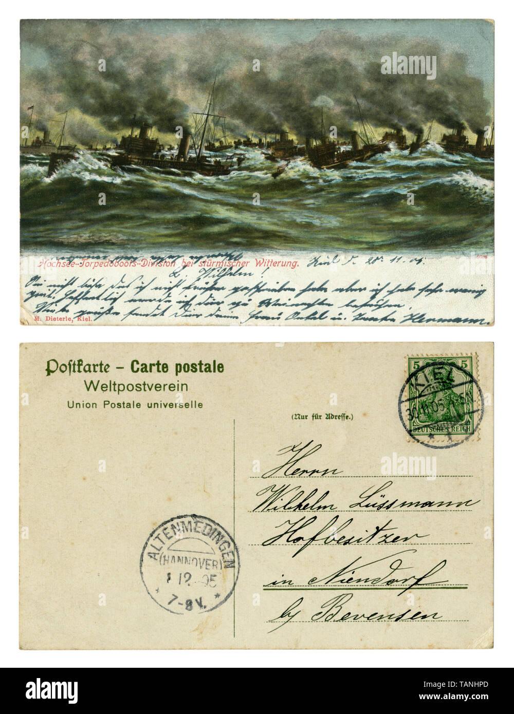 German historical postcard: Navy, warships at sea. The maneuvers of the torpedo. Stormy sea. Black smoke from ship's pipes. Back side, Kiel, 1905 Stock Photo