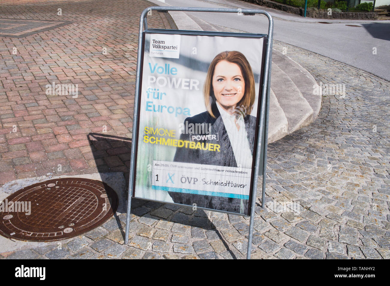 Poster of OVP, Simone Schmiedtbauer, pre-election campaign for 2019 European Parliament election in Hallstatt, Austria, May 24, 2019.  (CTK Photo/Libo - Stock Image