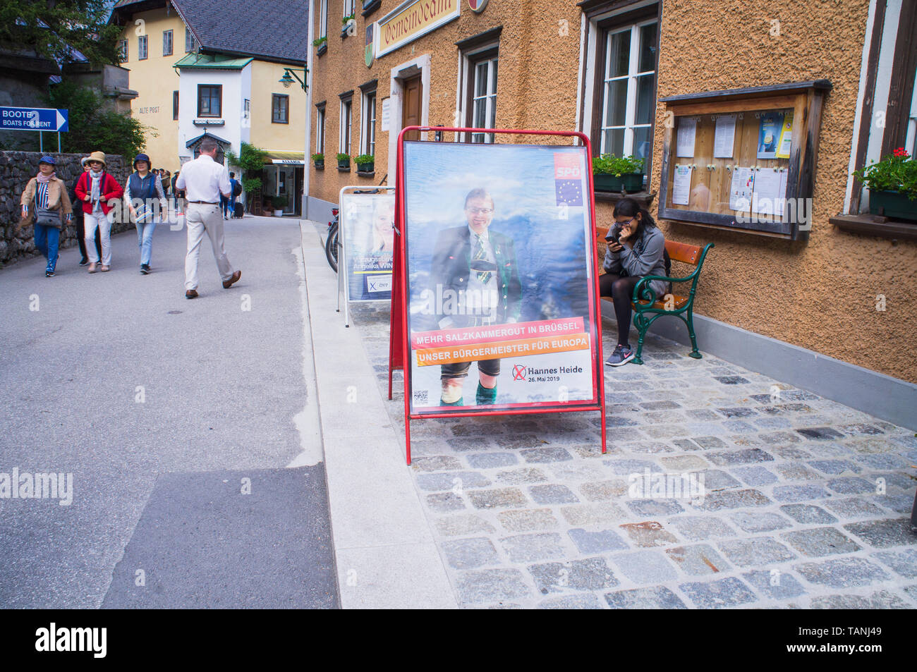 Poster of SPO, Hannes Heide, and OVP, Angelika Winzig, pre-election campaign for 2019 European Parliament election in Hallstatt, Austria, May 24, 2019 - Stock Image