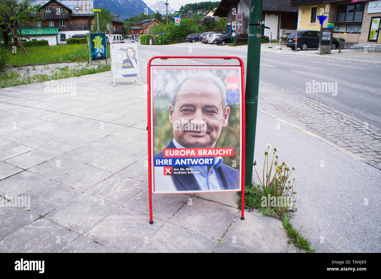 Poster of SPO, Andreas Schieder, and OVP, Simone Schmiedtbauer, pre-election campaign for 2019 European Parliament election in Altaussee, Austria, May - Stock Image