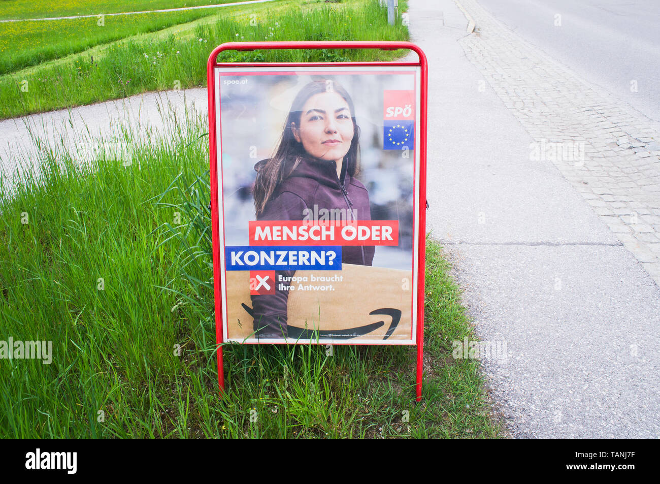 Poster of SPO, MENSCH ODER KONZERN, pre-election campaign for 2019 European Parliament election in Altaussee, Austria, May 25, 2019.  (CTK Photo/Libor - Stock Image