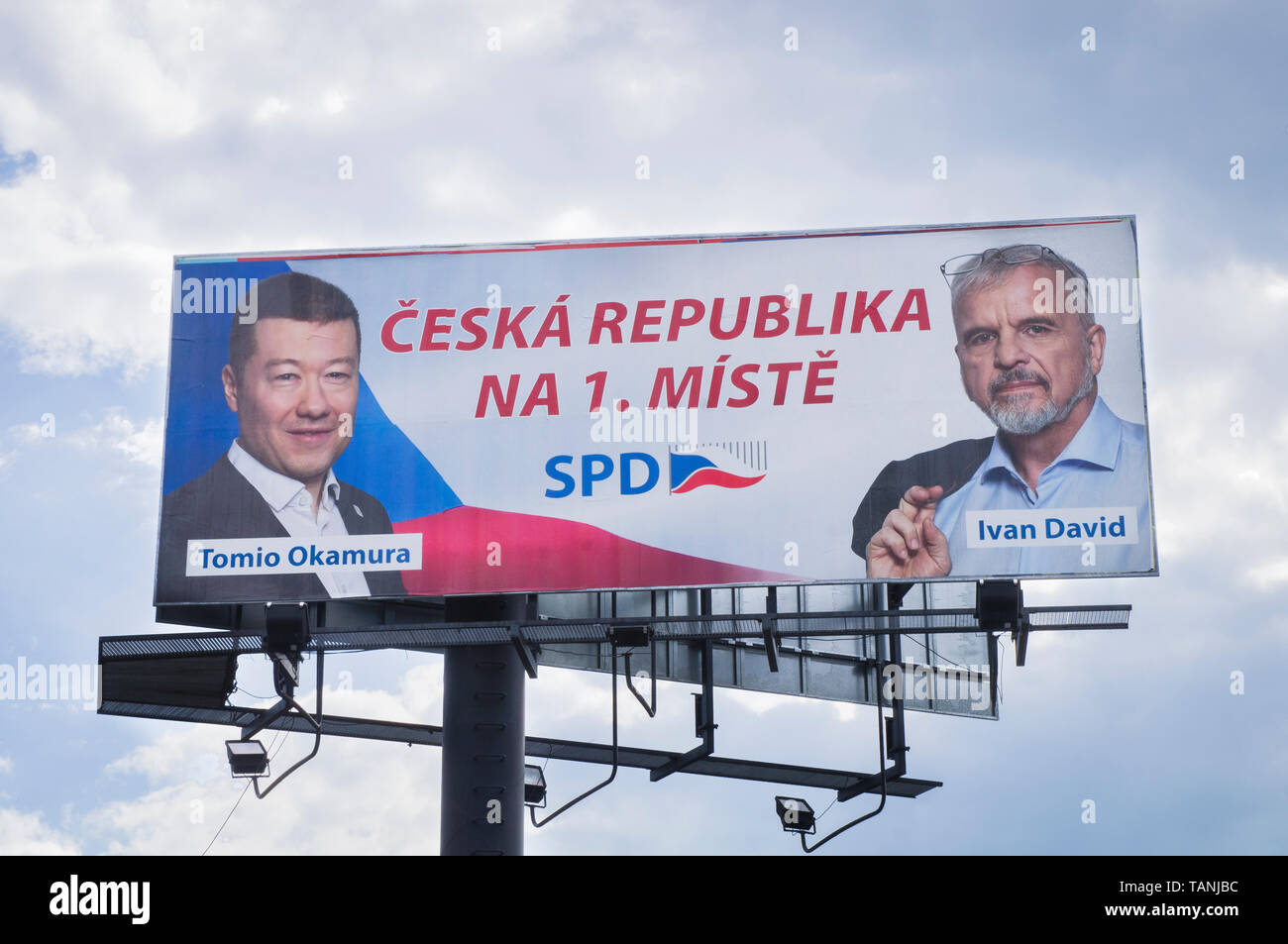 Billboard of SPD (Freedom and Direct Democracy), Tomio Okamura and Ivan David, pre-election campaign for 2019 European Parliament election in Ceske Bu - Stock Image