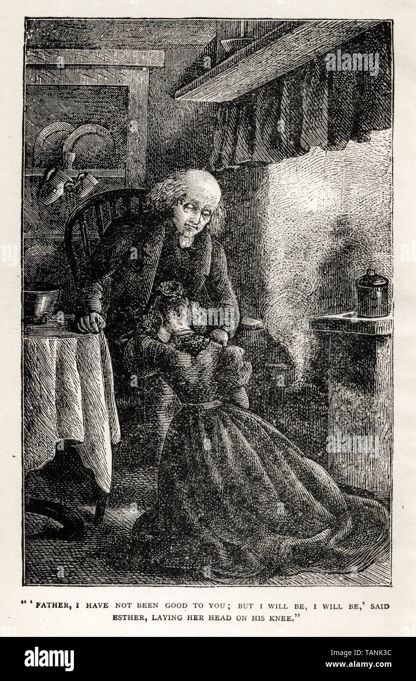 Frontispiece illustration for the Victorian novel Felix Holt by George Eliot, engraving, 1880 - Stock Image