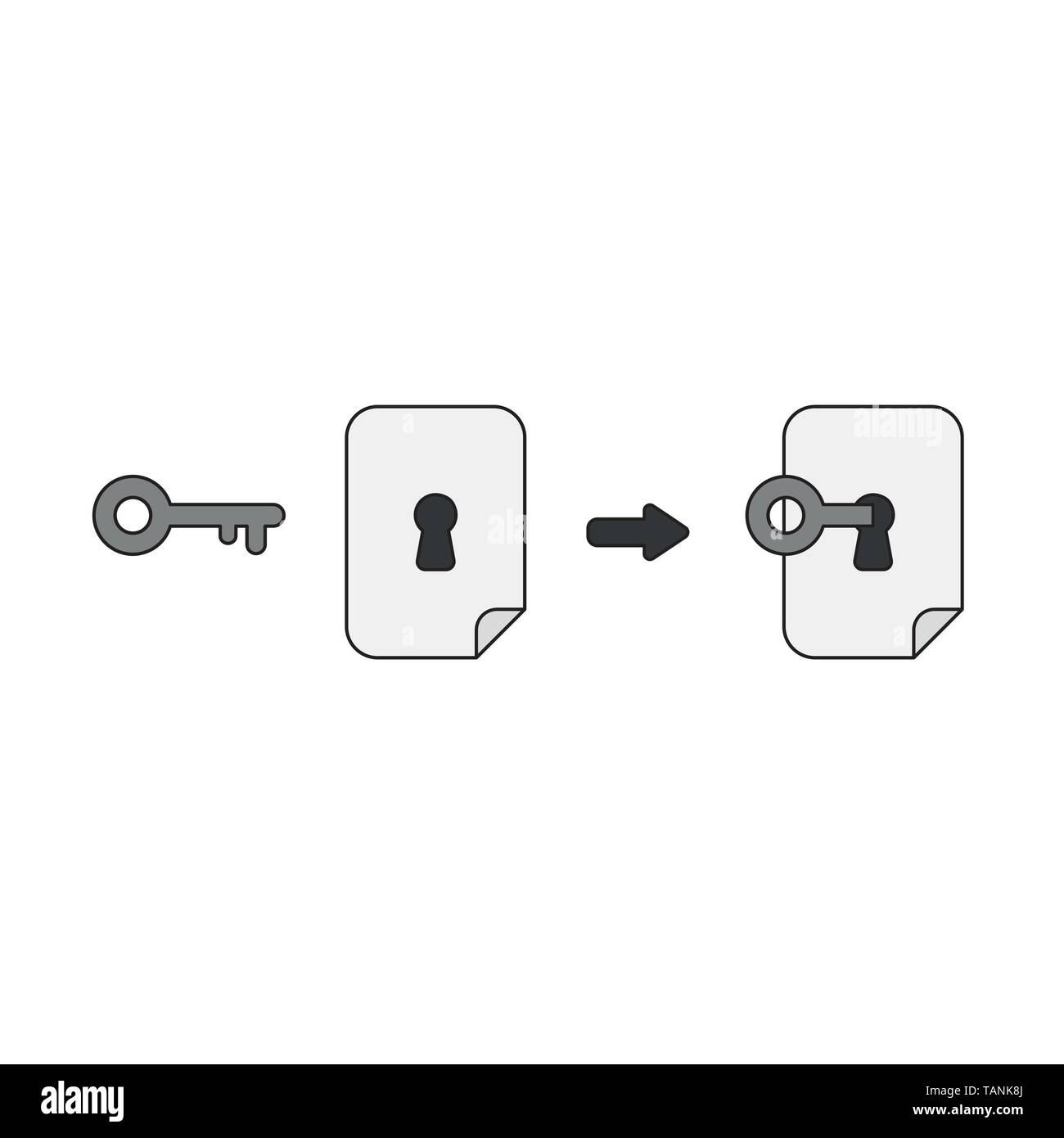 Vector icon concept of key unlock or lock paper keyhole. Black outlines and colored. - Stock Image
