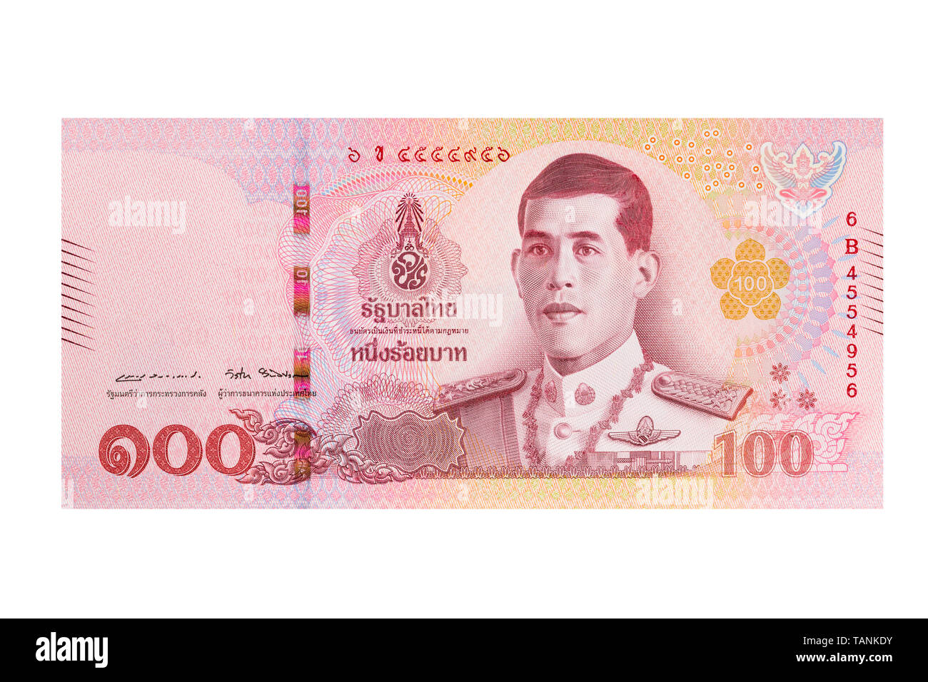 One hundred thai Baht note on a white background - Stock Image