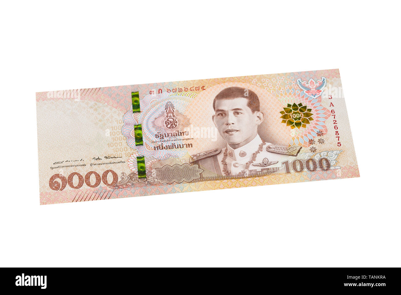 One thousand thai Baht note note on a white background - Stock Image