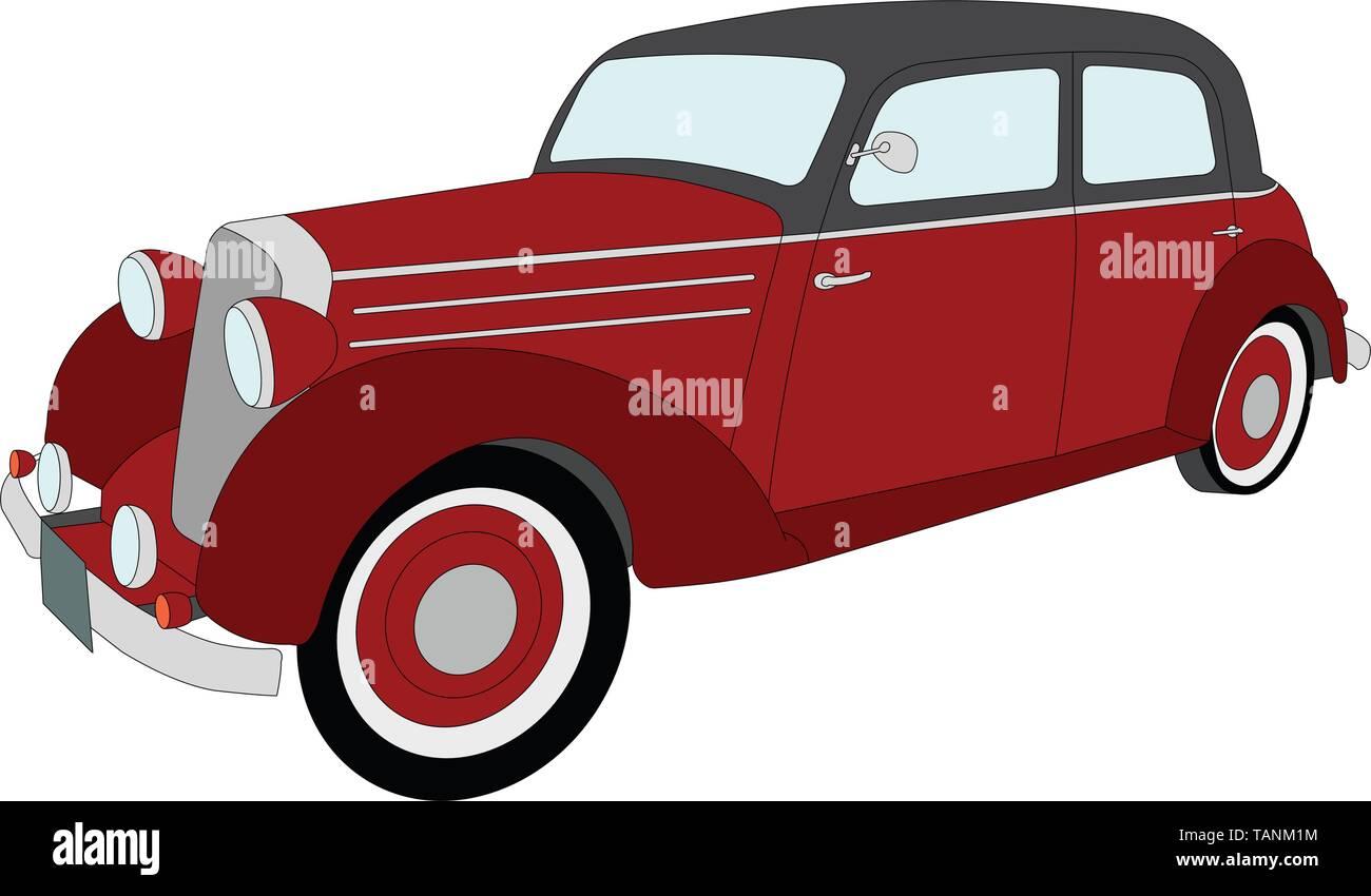 old timer vintage car - vector - Stock Image