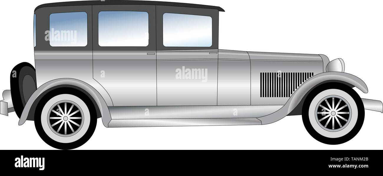 old timer vintage car illustration - vector - Stock Image